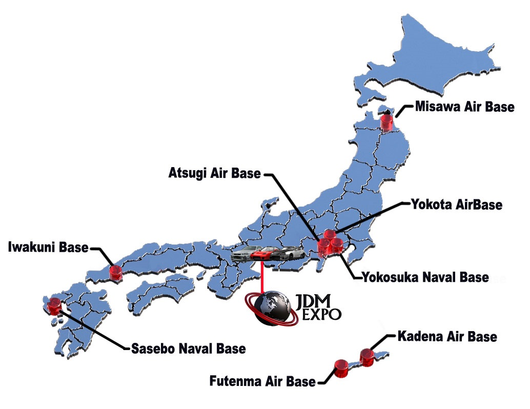 US Military Bases Cars Sale Japan JDM EXPO Best Exporter Of - Us naval bases in japan map